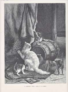 BOSTON TERRIER DOG PLAYING WITH CAT & KITTENS ANTIQUE PRINT 1878