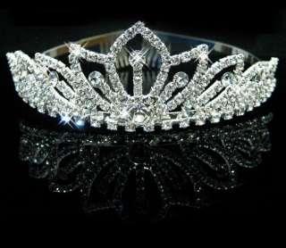 Pretty Silver Crystal Rhinestone Wedding Headband Tiara Comb LKT0031