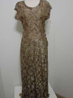 Jasmine Brown/Gold Lace Beaded Trim Swing Dress/NWT M