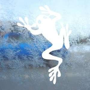 Tree Frog Amphibian Climbing White Decal Window White