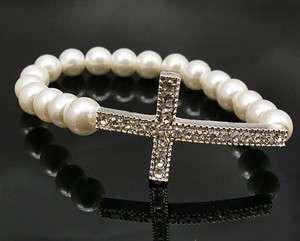 Pearl Bridal Bracelet Chain With Crystal Cross Elastic Wedding