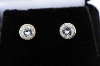 CARAT ROUND BRILLIANT CUT DIAMOND STUD EARRINGS BEZEL SET 14K