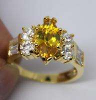 9KT YELLOW GOLD FILLED MARQUISE CITRINE& DIAMOND RING
