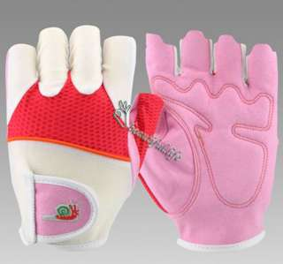 Women Cycling Bike Bicycle Half Finger Gloves Red Pink
