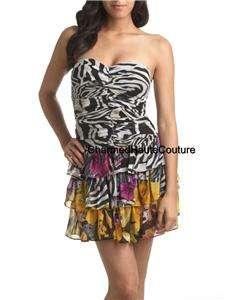 Arden B Chiffon Mixed Animal Print Tiered Dress Small