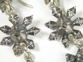 ANTIQUE EUROPEAN SILVER ROSE CUT DIAMOND DROP EARRINGS c1790