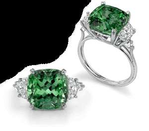 NATURAL DIAMOND 7 CT GREEN TOURMALINE & DIAMOND RING