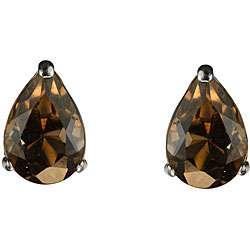 10k White Gold Pear shaped Smokey Quartz Stud Earrings