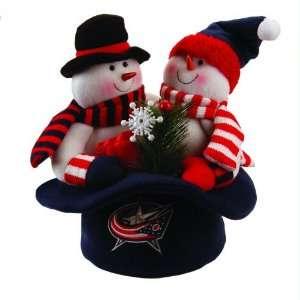 12 NHL Columbus Blue Jackets Snowmen Top Hat Table Christmas