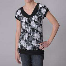 Collection Womens Floral Print Stretch Knit Top