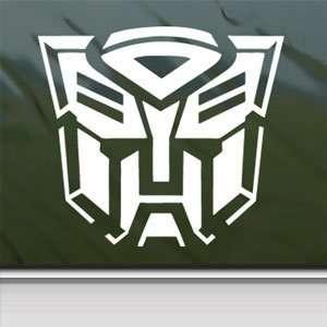 Transformers Autobot White Sticker Car Vinyl Window Laptop White Decal