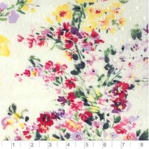 56 Wide Dotted Swiss French Flowers Ivory Fabric By The