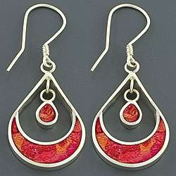 Sterling Silver Moon Red Coral Earrings (Indonesia)
