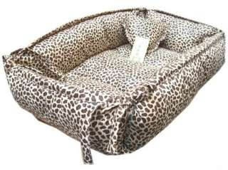 Cotton Handmade Leopard Print Pet Dog Cat Bed House Round/Square S,M,L