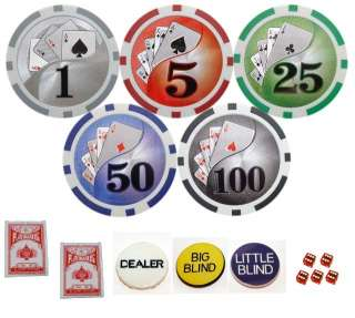 1000 11.5g Clay Las Vegas Casino Style Poker Chip Set