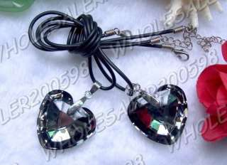 15strands Heart 33*32MM Charms Crystal Glass Pendant Necklaces