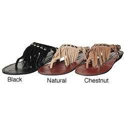 Steve Madden Womens Studdlyy Fringe Flat Sandals