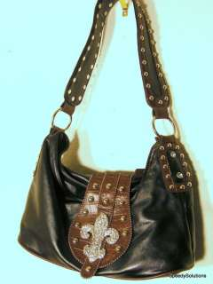 Western Fleur Rhinestone Cross Handbag Purse Hobo Bag
