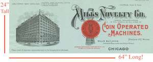AMAZING MILLS NOVELTY CHICAGO 1908 FACTORY ADVERTISTING POSTER!