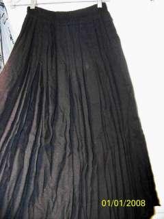 VINTAGE CAROL LITTLE STW Black Rayon Pleated Skirt Sz8