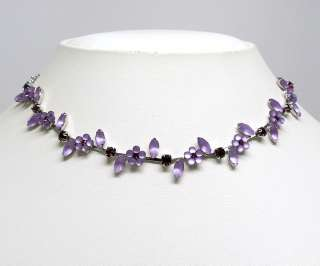 AMETHYST COLOR CRYSTAL FLOWER NECKLACE EARRINGS S1194