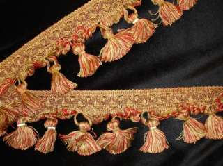 Red & Sand Elegant India Tassels Fringe Deco Fabric Embellishment