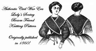 Civil War Victorian Knitted Ladys Shawl Pattern 1860