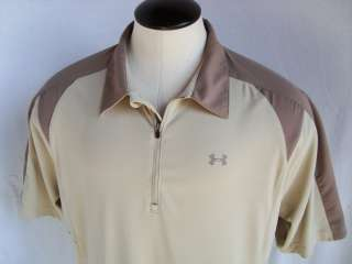 Under Armour *triple logo* 1/2 zip wicking polo golf shirt ~ mens XXL