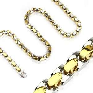 Gold IP Square Links Necklace   Length 24.02 Width 0.37 Jewelry