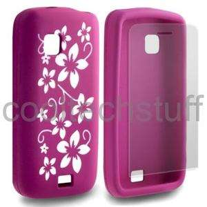 FOR NOKIA C5 03 HOT PINK FLOWER SILICONE GEL SKIN CASE COVER + SCREEN