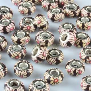 Bulk Fimo Polymer Clay Daisy Flower Charm Beads Findings Fit European