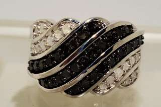 1000 1.26CT ROUND CUT BLACK & WHITE DIAMOND RING SIZE 7