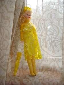 Yellow RAIN raincoat umbrella hat BARBIE OUTFIT set lot