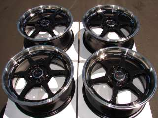 Sniper Rims Black Wheels 4x100 Integra Civic Miata Cooper Scion