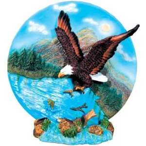 Eagle Catching Fish Decor Plate Figurine Home & Kitchen