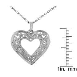 Sterling Silver Filigree Puffy Heart Necklace