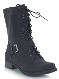 NEW BAMBOO Women Lace up Military Mid Calf Buckle Detail Boot sz Black