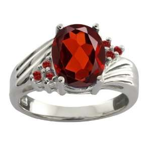 97 Ct Genuine Oval Red Garnet Gemstone Sterling Silver Ring Jewelry
