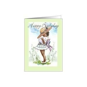 Cute Little Girl with Bonnet & Bunny ART Card Health