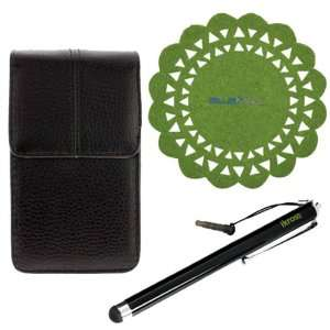 GTMax Universal Vertical Leather Case + Universal Pen style Stylus