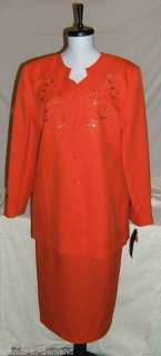 KRISTY STUART Melon Orange Skirt Suit Misses Size 12
