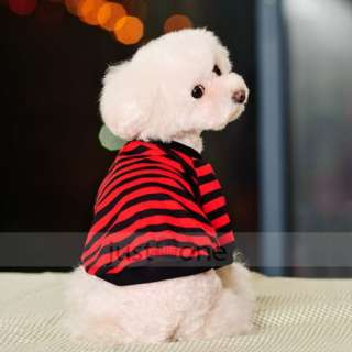 British style Pet Dog Apparel Clothes Striped T Shirt gray/blue/red S