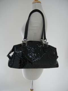 DONALD J PLINER Black Patent Leather TOTE PURSE BAG Quilted, Can