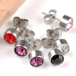 Crystal Stainless Steel Round Silvery Men Women Ear Studs GIFT