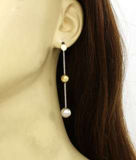 BEAUTIFUL 14K YELLOW & WHITE GOLD DANGLE EARRINGS