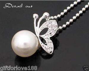 VH4061 New Fashion Jewelry Butterfly Pearl Earring Necklace Set