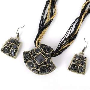 Handmade Knit Black Crystal Cat Eye Gem Stone Earring Pendant Chain