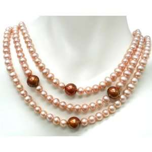 Sterling Silver 3 row Pink Freshwater Pearl Necklace