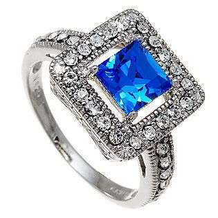Cushion cut Aquamarine & Clear Swarovski Crystal Ring in Rhodium over