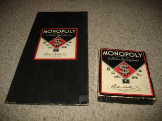 VINTAGE 1937 MONOPOLY GAME with board, money, tokens, cards, deeds